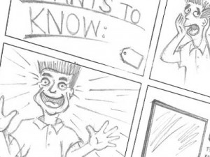 "Storyboards for ""Sharp"" advertising"