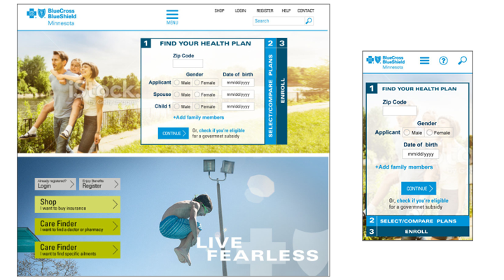 User experience for Blue Cross Blue Shield