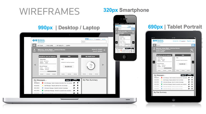 BCBS website wireframes for three breakpoints