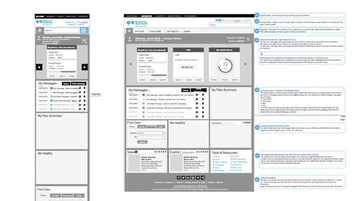 BCBS website wireframes for smart phone and tablet
