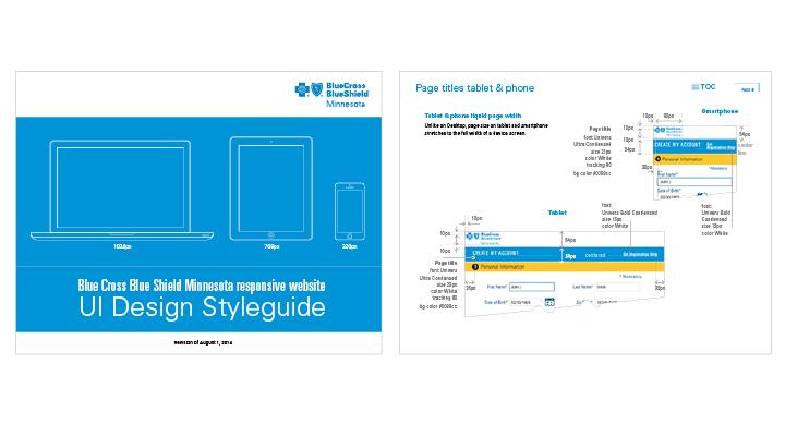 user interface styleguide for health insurance