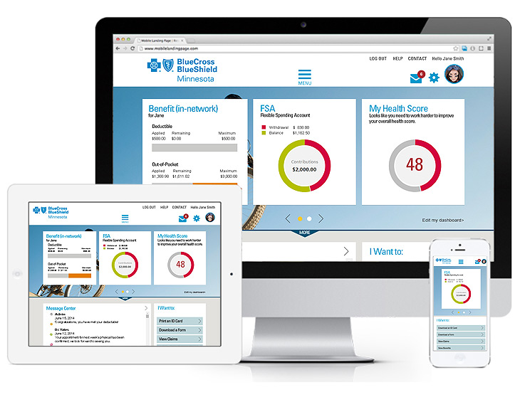 blue cross blue shield responsive website view on three devices