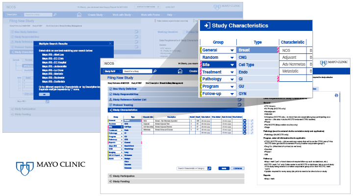 screens of NCCS software redesign