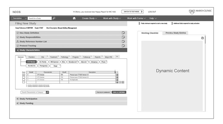 Mayo NCCS online application page wireframe