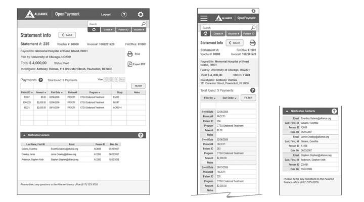 open payment responsive app wireframes